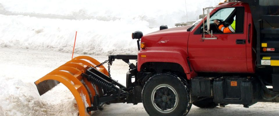 red snow plow